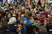 Democratic presidential candidate Sen Bernie Sanders greets his supporters following a rally at Recreation Hall on the campus of Penn State...