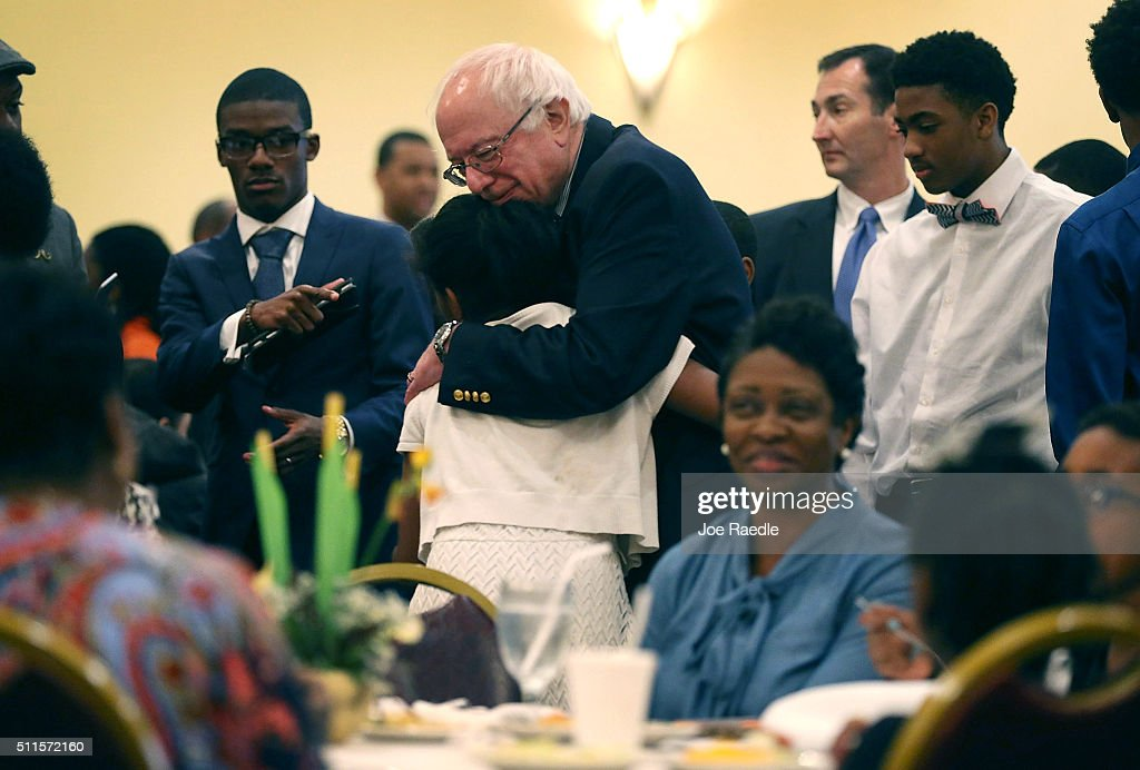 Democratic presidential candidate Sen Bernie Sanders greets people at the Brookland Baptist Church on February 21 2016 in West Columbia South...