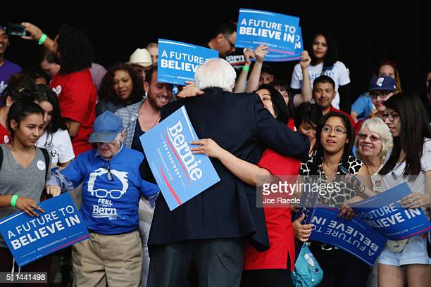 Democratic presidential candidate Sen Bernie Sanders hugs a supporter on February 20 2016 in Henderson Nevada Bernie Sanders conceded in the Nevada...