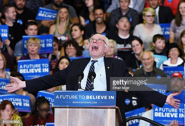 Democratic presidential candidate Sen Bernie Sanders jokes around as he speaks during a campaign rally at Bonanza High School on February 14 2016 in...