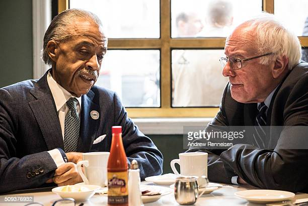 Democratic presidential candidate Sen Bernie Sanders meets with Reverend Al Sharpton at Sylvia's Restaurant on February 10 2016 in the Harlem...