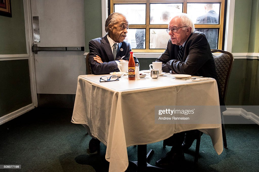 Democratic presidential candidate Sen. Bernie Sanders (D-VT) meets with Reverend Al Sharpton at Sylvia's Restaurant on February 10, 2016 in the Harlem neighborhood of New York City. The meeting comes after a strong victory for Senator Sanders in the New Hampshire primary.