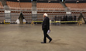 Democratic presidential candidate Sen Bernie Sanders of Vermont prepares for the New Hampshire Democratic Party Convention Exclusive backstage photos...