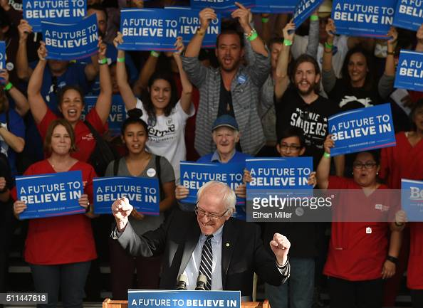 Democratic presidential candidate Sen Bernie Sanders reacts to the crowd as he arrives at the Henderson Pavilion to give a concession speech on...