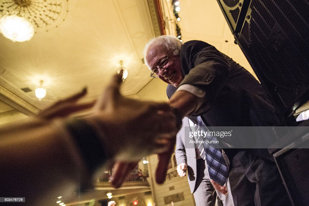 Democratic presidential candidate Sen. Bernie Sanders (I-VT) shakes hands with supporters after outlining his plan to reform the U.S. financial sector on January 5, 2016 in New York City. Sanders is demanding greater financial oversight and greater government action for banks and individuals that break financial laws.