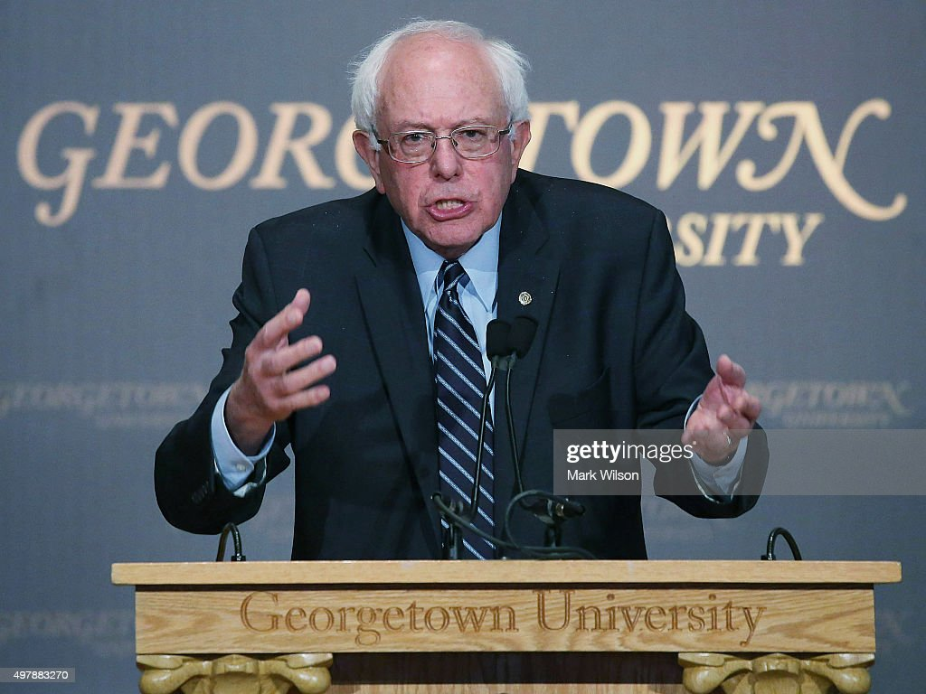 Democratic Presidential candidate Sen. <a gi-track='captionPersonalityLinkClicked' href=/galleries/search?phrase=Bernie+Sanders&family=editorial&specificpeople=2908340 ng-click='$event.stopPropagation()'>Bernie Sanders</a> (I-VT) speaks about democratic socialism at Georgetown University November 19, 2015 in Washington, DC. Sanders spoke about his vision for creating an American future that he said was based on economic and social justice and environmental sanity.