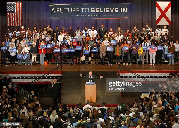 Democratic presidential candidate Sen Bernie Sanders speaks at Boutwell Auditorium January 18 2016 in Birmingham Alabama Sanders spoke to a capacity...