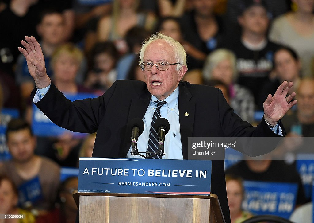 Democratic presidential candidate Sen. <a gi-track='captionPersonalityLinkClicked' href=/galleries/search?phrase=Bernie+Sanders&family=editorial&specificpeople=2908340 ng-click='$event.stopPropagation()'>Bernie Sanders</a> (I-VT) speaks at a rally at Bonanza High School on February 14, 2016 in Las Vegas, Nevada. Sanders is challenging Hillary Clinton for the Democratic presidential nomination ahead of Nevada's Feb. 20 Democratic caucus.