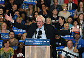 Democratic presidential candidate Sen Bernie Sanders speaks at a rally at Bonanza High School on February 14 2016 in Las Vegas Nevada Sanders is...