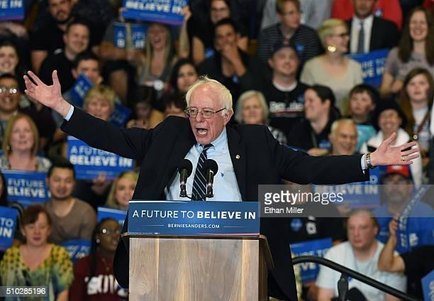 Democratic presidential candidate Sen Bernie Sanders speaks at a rally at Bonanza High School on February 14 2016 in Las Vegas Nevada Sanders is...