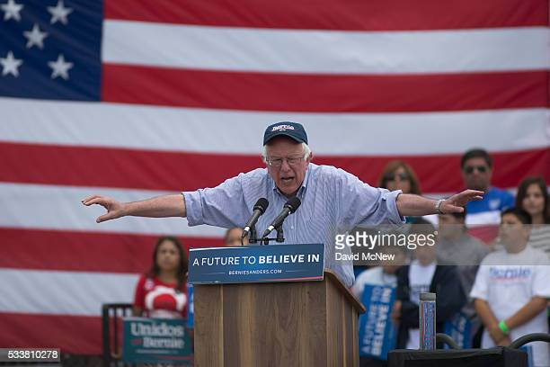 Democratic presidential candidate Sen Bernie Sanders speaks at a campaign rally at Lincoln Park on May 23 2016 in East Los Angeles California Sanders...