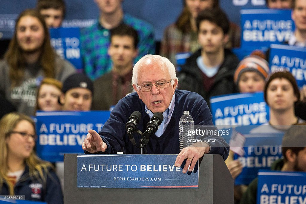 Democratic presidential candidate Sen. <a gi-track='captionPersonalityLinkClicked' href=/galleries/search?phrase=Bernie+Sanders&family=editorial&specificpeople=2908340 ng-click='$event.stopPropagation()'>Bernie Sanders</a> (D-VT) speaks at a campaign rally on February 6, 2016 in Rindge, New Hampshire. Sanders is hoping to win the New Hampshire primary, which takes place on Tuesday, February 9, 2016.