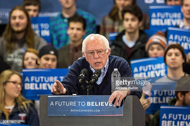 Democratic presidential candidate Sen Bernie Sanders speaks at a campaign rally on February 6 2016 in Rindge New Hampshire Sanders is hoping to win...