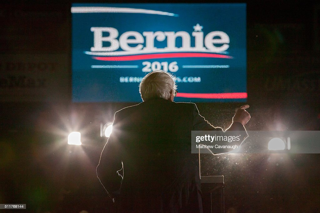 Democratic presidential candidate Sen Bernie Sanders speaks at a rally on February 22 2016 at the University of Massachusetts in Amherst...