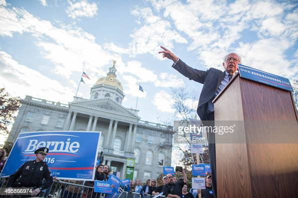 Democratic presidential candidate Sen Bernie Sanders speaks at a rally after filing paperwork for the New Hampshire primary at the State House on...