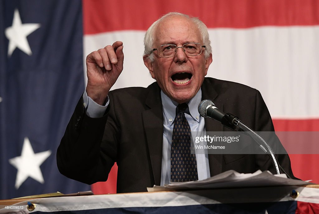 Democratic presidential candidate Sen. <a gi-track='captionPersonalityLinkClicked' href=/galleries/search?phrase=Bernie+Sanders&family=editorial&specificpeople=2908340 ng-click='$event.stopPropagation()'>Bernie Sanders</a> speaks at the Iowa Democratic Wing Ding August 14, 2015 in Clear Lake, Iowa. The Wing Ding is held at the historic Surf Ballroom, where Buddy Holly and Ritchie Valens played their final concert, and featured Democratic presidential candidates Hillary Clinton, Sen. <a gi-track='captionPersonalityLinkClicked' href=/galleries/search?phrase=Bernie+Sanders&family=editorial&specificpeople=2908340 ng-click='$event.stopPropagation()'>Bernie Sanders</a> (I-VT), Martin OÕMalley and Lincoln Chaffee.