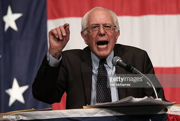 Democratic presidential candidate Sen Bernie Sanders speaks at the Iowa Democratic Wing Ding August 14 2015 in Clear Lake Iowa The Wing Ding is held...