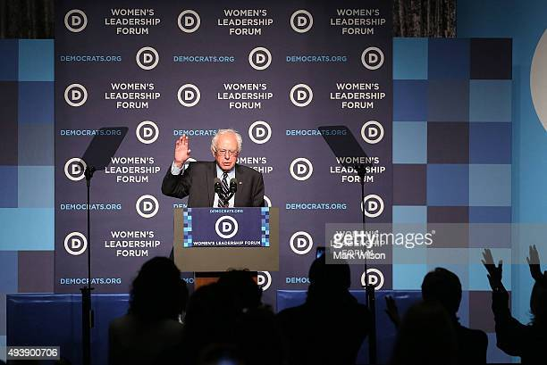 Democratic Presidential candidate Sen Bernie Sanders speaks at the Democratic National Committee's Women's Leadership Forum October 23 2015 in...