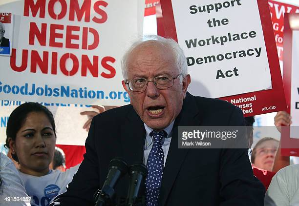 Democratic presidential candidate Sen Bernie Sanders speaks during a news conference on better wages for workers on Capitol Hill October 6 2015 in...