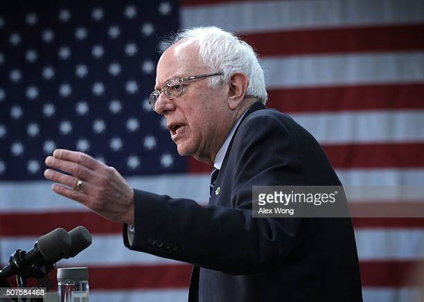 Democratic presidential candidate Sen Bernie Sanders speaks during a campaign rally at the Delaware County Fairgrounds January 30 2016 in Manchester...