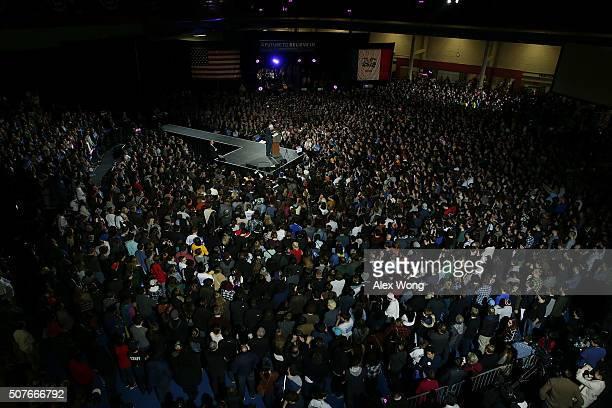 Democratic presidential candidate Sen Bernie Sanders speaks during a campaign rally at University of Iowa January 30 2016 in Iowa City Iowa Sanders...