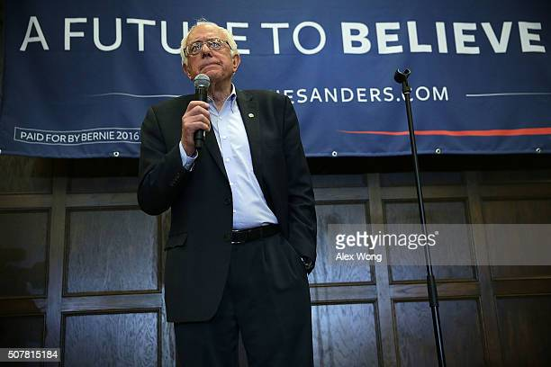 Democratic presidential candidate Sen Bernie Sanders speaks during a campaign event at Iowa State University January 31 2016 in Ames Iowa Sanders...