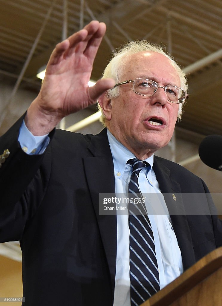 Democratic presidential candidate Sen. Bernie Sanders (I-VT) speaks during a campaign rally at Bonanza High School on February 14, 2016 in Las Vegas, Nevada. Sanders is challenging Hillary Clinton for the Democratic presidential nomination ahead of Nevada's Feb. 20 Democratic caucus.