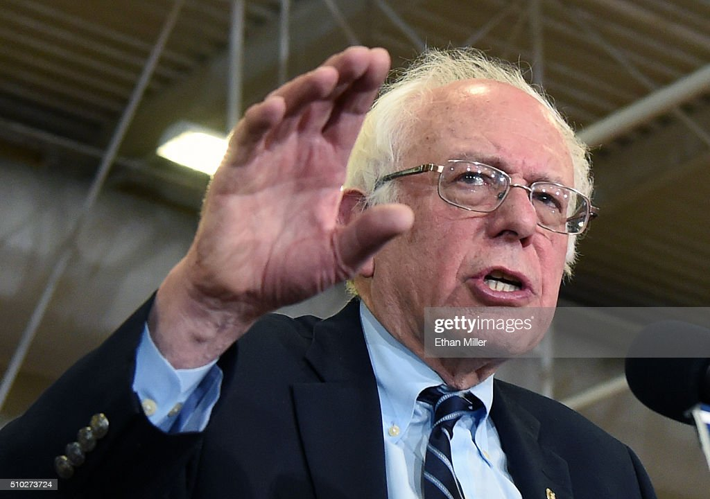Democratic presidential candidate Sen. <a gi-track='captionPersonalityLinkClicked' href=/galleries/search?phrase=Bernie+Sanders&family=editorial&specificpeople=2908340 ng-click='$event.stopPropagation()'>Bernie Sanders</a> (I-VT) speaks during a campaign rally at Bonanza High School on February 14, 2016 in Las Vegas, Nevada. Sanders is challenging Hillary Clinton for the Democratic presidential nomination ahead of Nevada's Feb. 20 Democratic caucus.