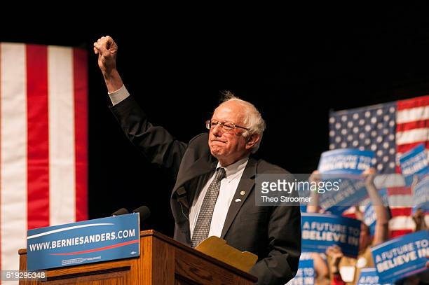 Democratic presidential candidate Sen Bernie Sanders speaks during a rally on April 5 2016 in Laramie Wyoming Sanders spoke to a large crowd on the...