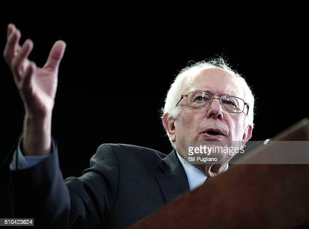 Democratic presidential candidate Sen Bernie Sanders speaks during his first campaign rally in Michigan at Eastern Michigan University February 15...