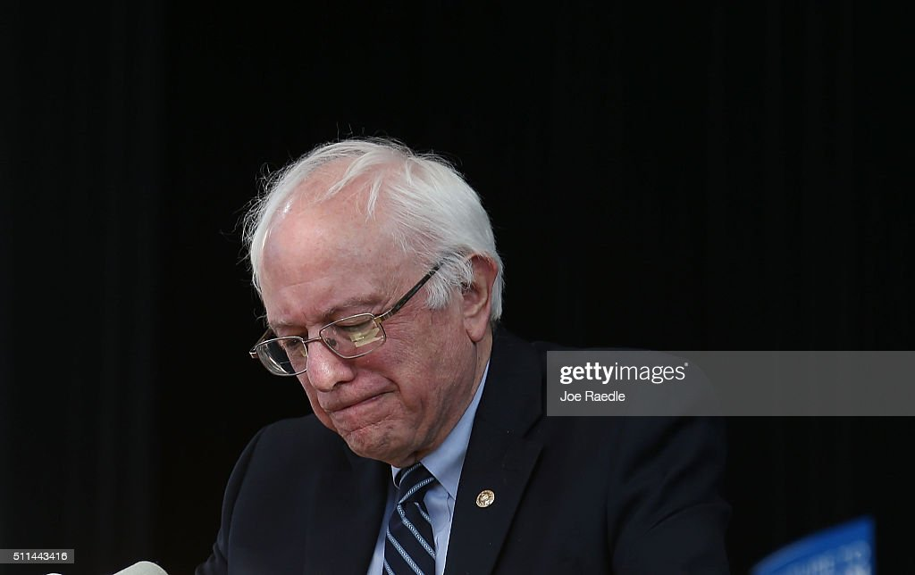 Democratic presidential candidate Sen Bernie Sanders speaks during his caucus watch party at the Henderson Pavilion on February 20 2016 in Henderson...