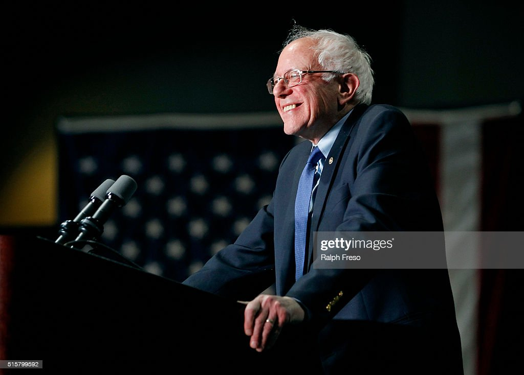 Democratic presidential candidate Sen. <a gi-track='captionPersonalityLinkClicked' href=/galleries/search?phrase=Bernie+Sanders&family=editorial&specificpeople=2908340 ng-click='$event.stopPropagation()'>Bernie Sanders</a> (D-VT) speaks to a crowd gathered at the Phoenix Convention Center during a campaign rally on March 15, 2016 in Phoenix, Arizona. Hillary Clinton won the Democratic primary elections in Florida, North Carolina and Ohio, while Missouri and Illinois remain tight races.