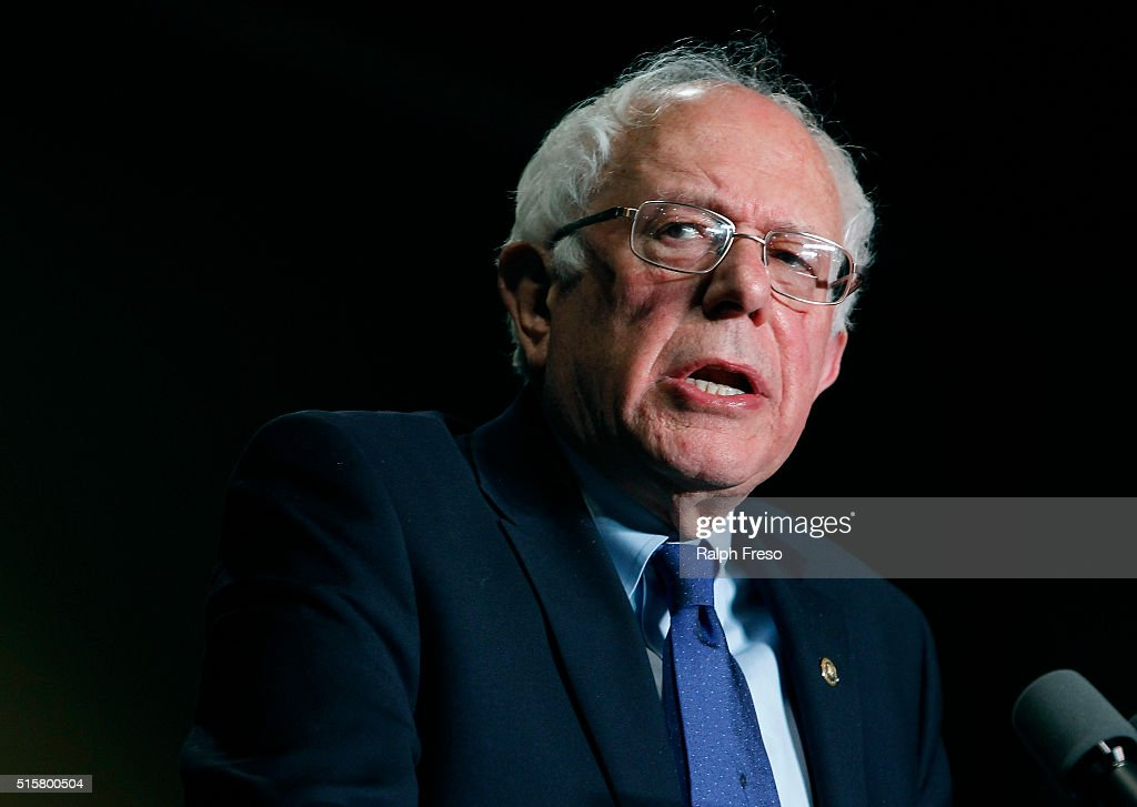 Democratic presidential candidate Sen. Bernie Sanders (D-VT) speaks to a crowd gathered at the Phoenix Convention Center during a campaign rally on March 15, 2016 in Phoenix, Arizona. Hillary Clinton won the Democratic primary elections in Florida, North Carolina and Ohio, while Missouri and Illinois remain tight races