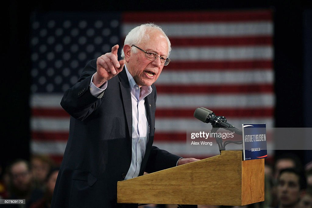 Democratic presidential candidate Sen. <a gi-track='captionPersonalityLinkClicked' href=/galleries/search?phrase=Bernie+Sanders&family=editorial&specificpeople=2908340 ng-click='$event.stopPropagation()'>Bernie Sanders</a> (I-VT) speaks to campaign volunteers during an event at Five Sullivan Brothers Convention Center January 31, 2016 in Waterloo, Iowa. Sanders continues to seek support for the Democratic nomination prior to the Iowa caucus on February 1.