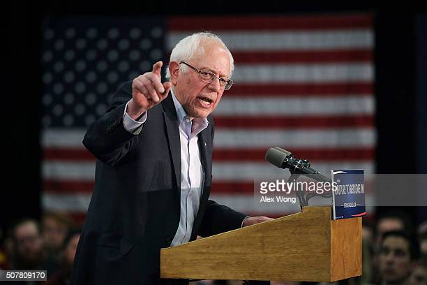 Democratic presidential candidate Sen Bernie Sanders speaks to campaign volunteers during an event at Five Sullivan Brothers Convention Center...