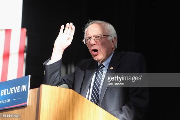 Democratic presidential candidate Sen Bernie Sanders speaks to supporters on February 20 2016 in Henderson Nevada Bernie Sanders conceded in the...