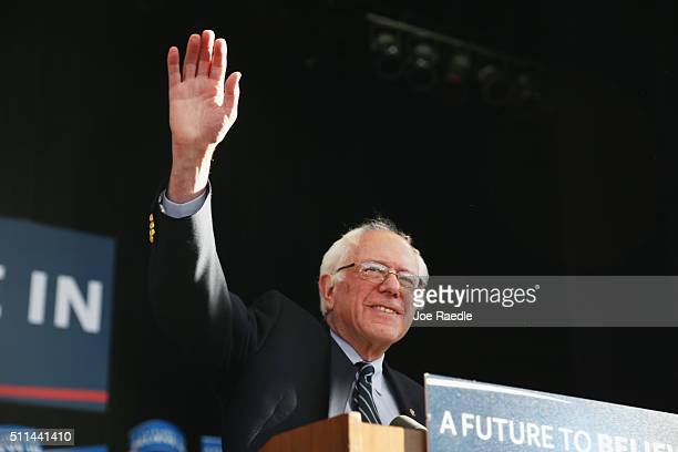 Democratic presidential candidate Sen Bernie Sanders speaks to supporters on February 20 2016 in Henderson Nevada Bernie Sanders conceded in the...