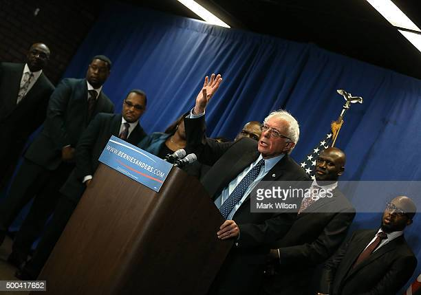 Democratic presidential candidate Sen Bernie Sanders speaks while flanked by AfricanAmerican religious and civic leaders after a meeting at the...
