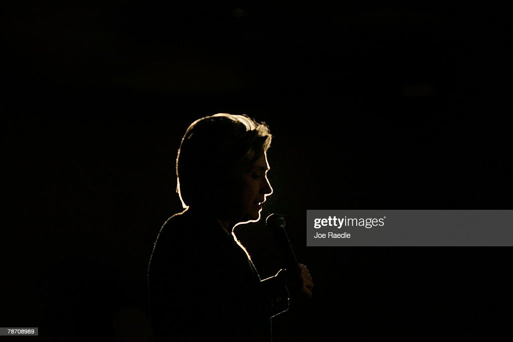 Democratic presidential candidate Sen. Hillary Clinton (D-NY) talks during a campaign stop at the Mississippi Valley Fairgrounds January 2, 2008 in Davenport, Iowa. With the Iowa caucuses one day away the race has tightened in both Iowa and New Hampshire.