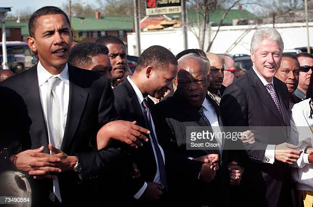 Democratic Presidential candidate Senator Barack Obama and former President Bill Clinton march to the Edmund Pettus Bridge to commemorate the 1965...