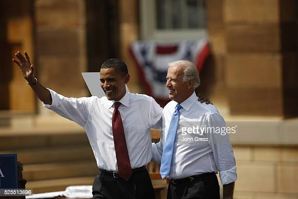 Democratic presidential candidate Senator Barack Obama and his vice presidential running mate Senator Joe Biden at a campaign event at the Old State...