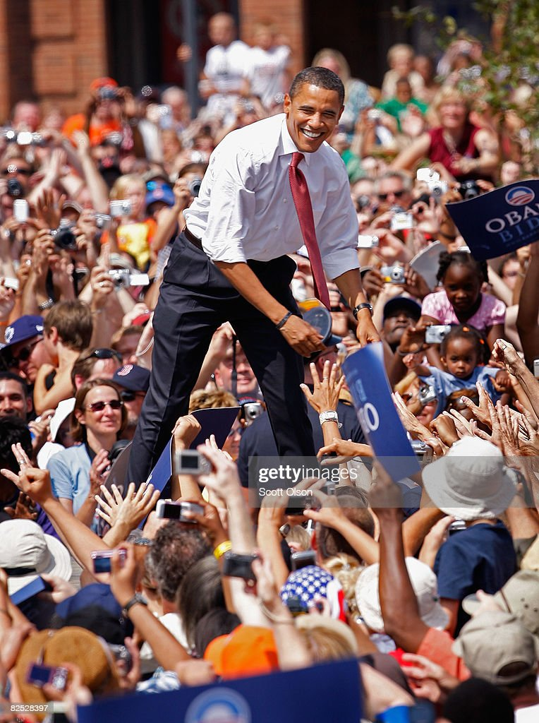 Democratic presidential candidate Senator Barack Obama greets people during a rally with Senator Joe Biden on the lawn of the Old State Capital...