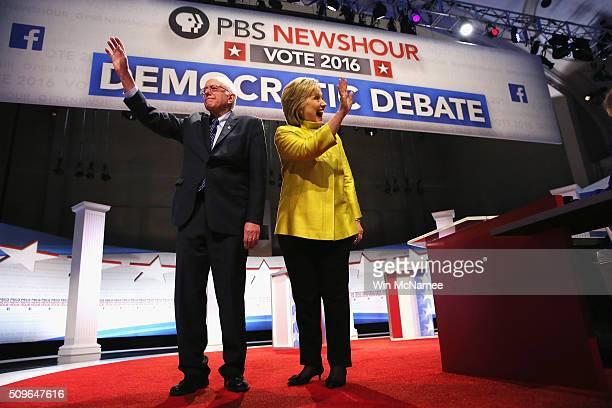Democratic presidential candidate Senator Bernie Sanders and Hillary Clinton participate in the PBS NewsHour Democratic presidential candidate debate...