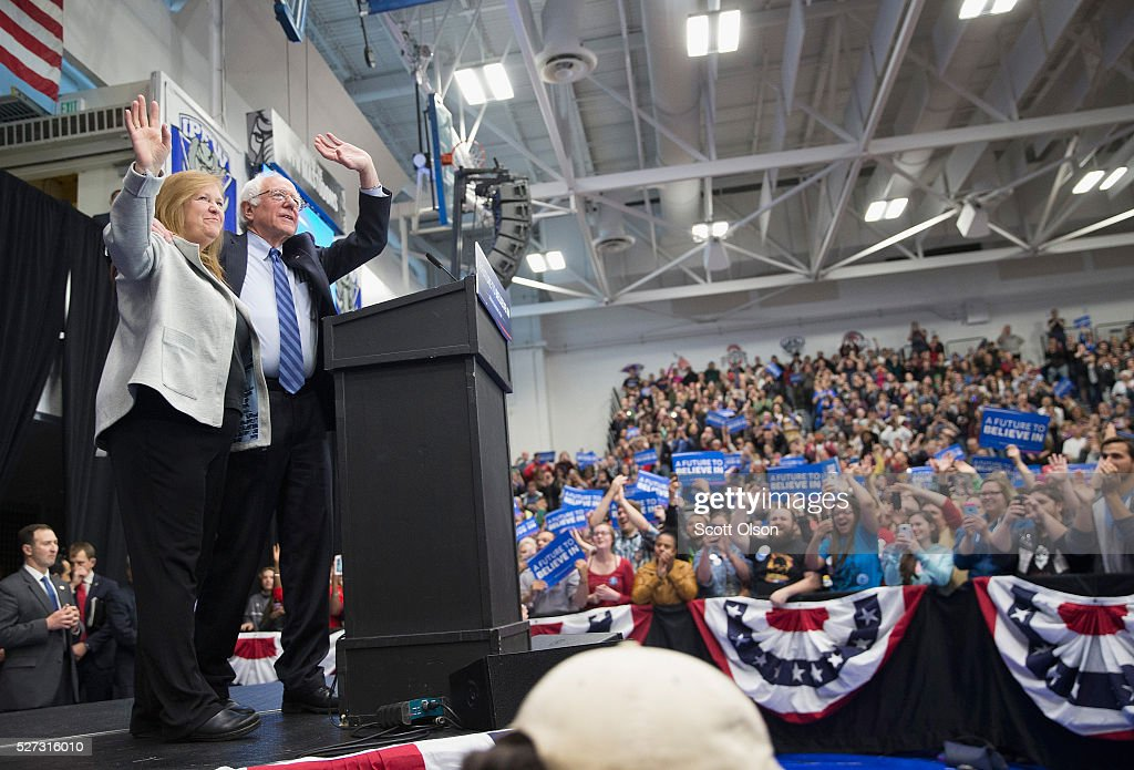Democratic presidential candidate Senator <a gi-track='captionPersonalityLinkClicked' href=/galleries/search?phrase=Bernie+Sanders&family=editorial&specificpeople=2908340 ng-click='$event.stopPropagation()'>Bernie Sanders</a> (D-VT) and his wife Jane arrive at a campaign event on the campus of Indiana University - Purdue University Fort Wayne May 2, 2016 in Fort Wayne, Indiana. Voters in Indiana go to the polls tomorrow for the state's primary.