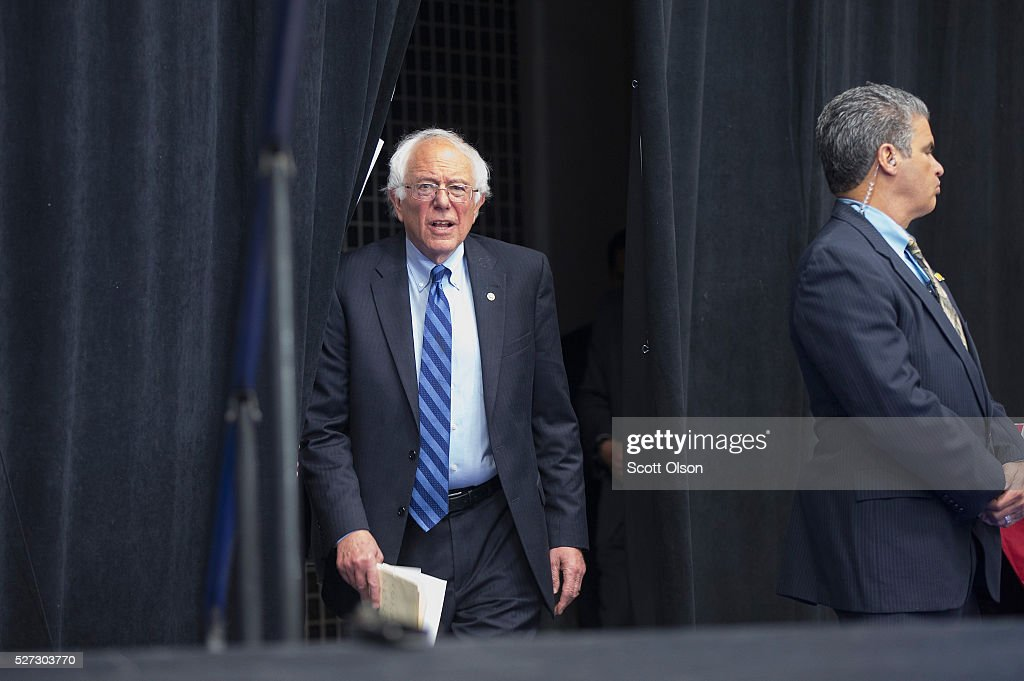Democratic presidential candidate Senator <a gi-track='captionPersonalityLinkClicked' href=/galleries/search?phrase=Bernie+Sanders&family=editorial&specificpeople=2908340 ng-click='$event.stopPropagation()'>Bernie Sanders</a> (D-VT) arrives for a campaign event on the campus of Indiana University - Purdue University Fort Wayne May 2, 2016 in Fort Wayne, Indiana. Voters in Indiana go to the polls tomorrow for the state's primary.