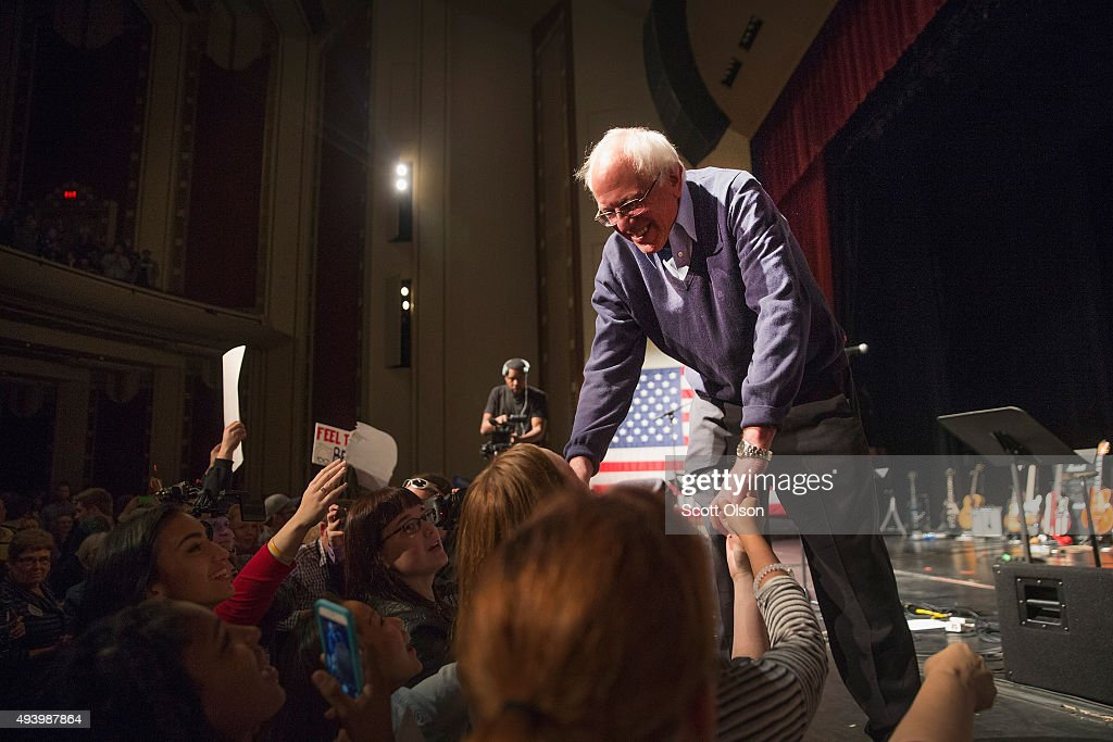 Democratic presidential candidate Senator Bernie Sanders greets guests at a concert he was hosting to raise support for his campaign at the Adler...