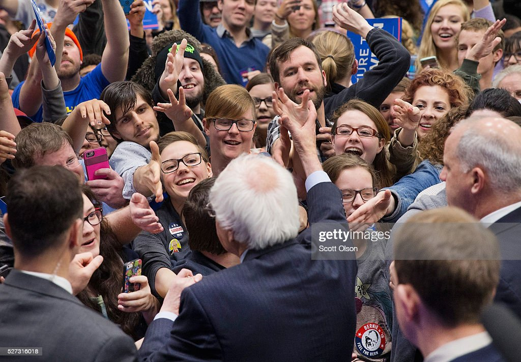 Democratic presidential candidate Senator <a gi-track='captionPersonalityLinkClicked' href=/galleries/search?phrase=Bernie+Sanders&family=editorial&specificpeople=2908340 ng-click='$event.stopPropagation()'>Bernie Sanders</a> (D-VT) greets guests at a campaign event on the campus of Indiana University - Purdue University Fort Wayne May 2, 2016 in Fort Wayne, Indiana. Voters in Indiana go to the polls tomorrow for the state's primary.