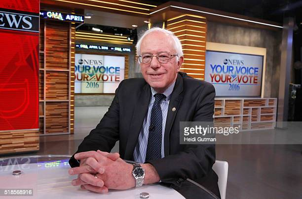 AMERICA Democratic Presidential Candidate Senator Bernie Sanders is a guest on 'Good Morning America' 4/1/16 airing on the ABC Television Network...