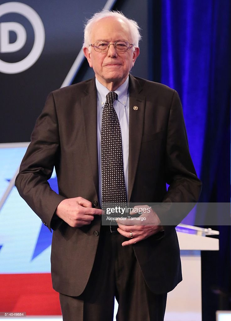 Democratic presidential candidate Senator <a gi-track='captionPersonalityLinkClicked' href=/galleries/search?phrase=Bernie+Sanders&family=editorial&specificpeople=2908340 ng-click='$event.stopPropagation()'>Bernie Sanders</a> (D-VT) is seen before the Univision News and Washington Post Democratic Presidential Primary Debate on the Miami Dade College Kendall Campus on March 9, 2016 in Miami, Florida.