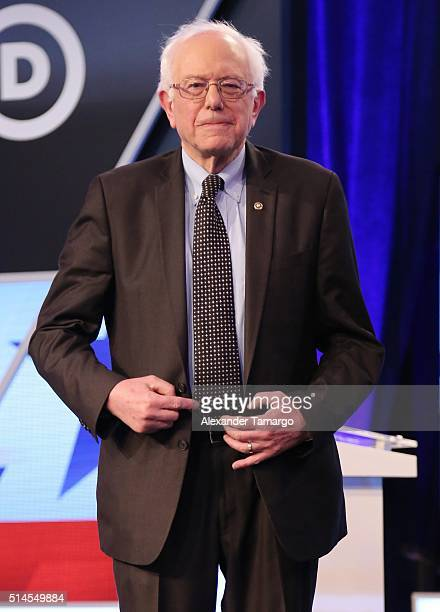 Democratic presidential candidate Senator Bernie Sanders is seen before the Univision News and Washington Post Democratic Presidential Primary Debate...
